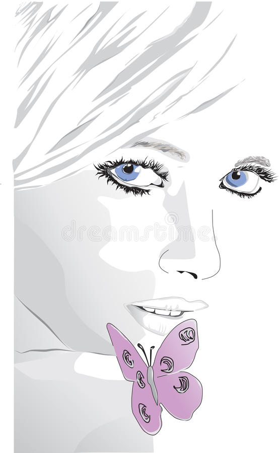 Girls with butterfly. European woman surrounded by natural beauty stock illustration