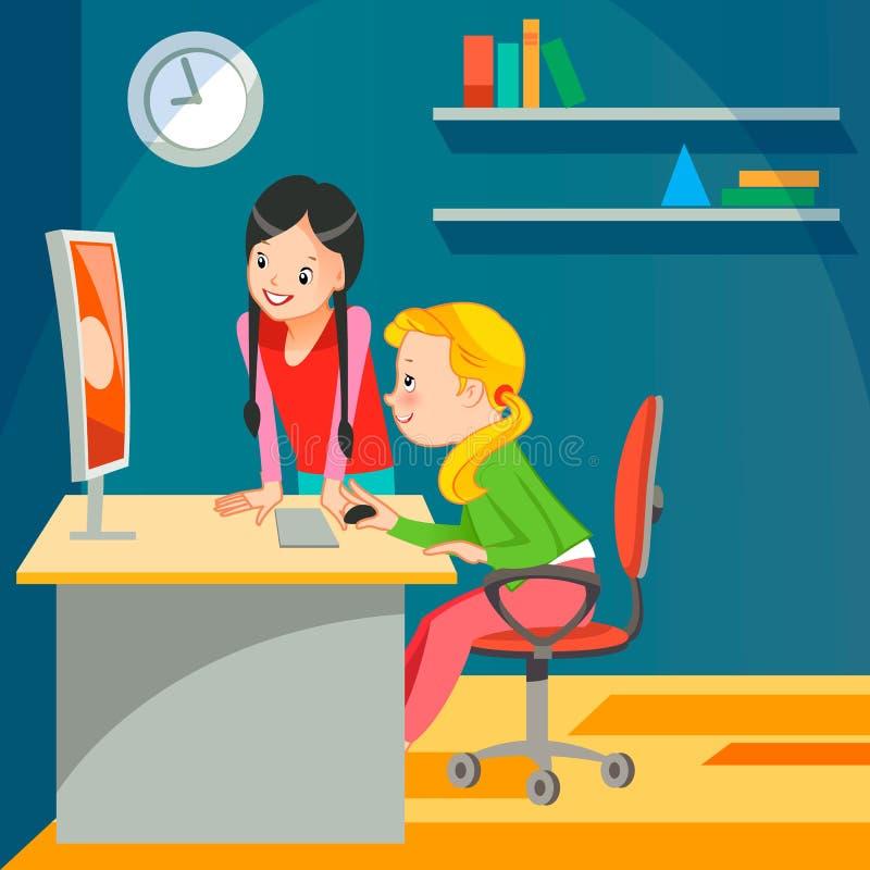 Girls c the computer. Vector illustration flat stock illustration