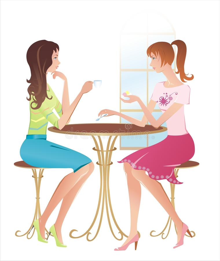 Download Girls at a cafe stock vector. Image of cafe, chat, cafeteria - 12173664