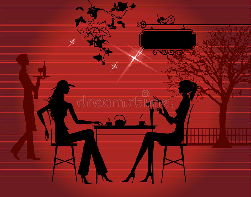 Download Girls in the cafe stock vector. Illustration of city, rest - 5171133