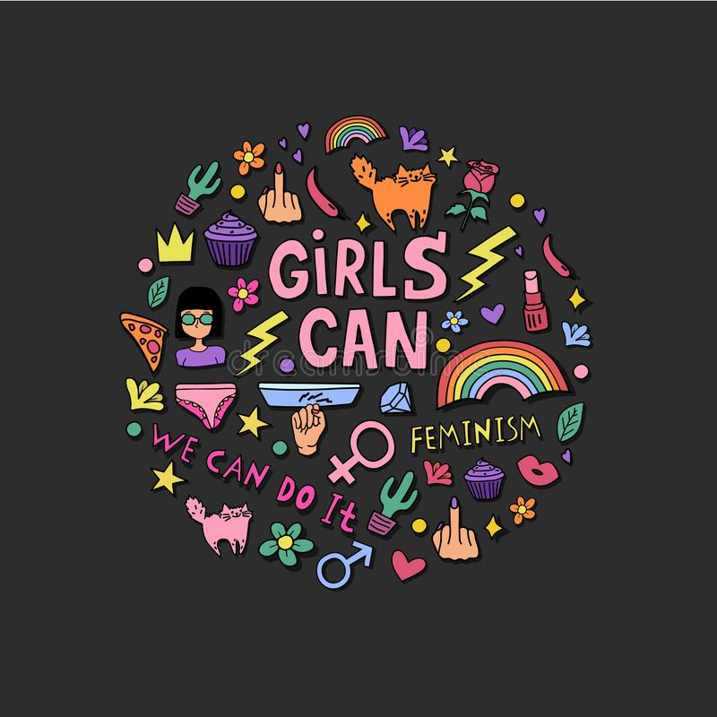 Girls can lettering with girly doodles and hand drawn phrases for feminism concept design, girl`s t-shirt print. vector illustration