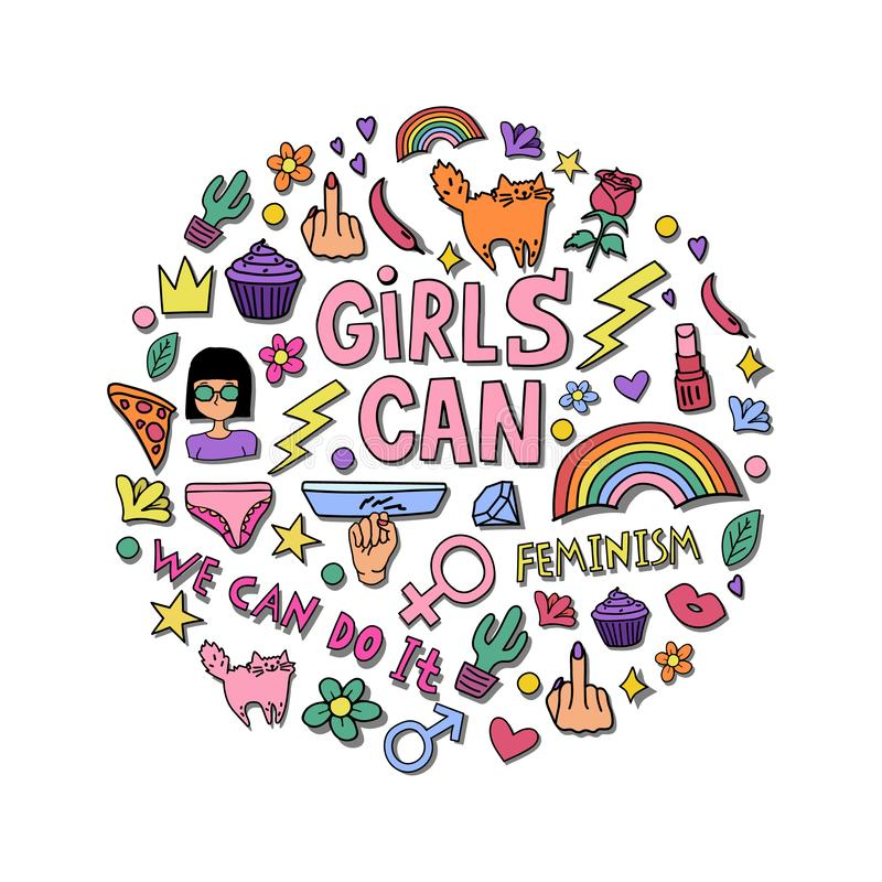 Girls can lettering with girly doodles and hand drawn phrases for feminism concept design, girl`s t-shirt print. Hand drawn fancy comic feminism slogan in vector illustration