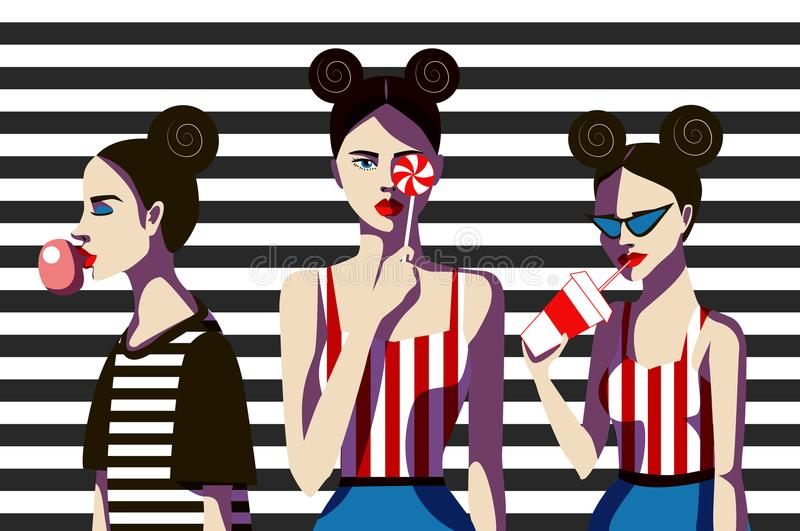 Girls with candy, chewing gum and juice on a striped background. Fashionable simple vector illustration. royalty free illustration