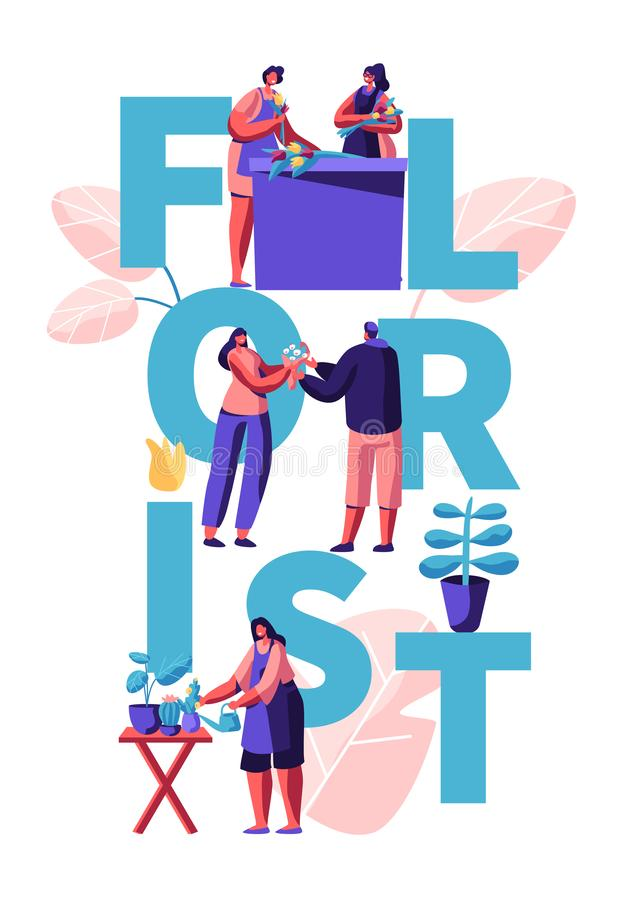Girls Caring and Plants in Flower Shop, People Characters Visit Store for Choose and Buy Flower Bouquet Florist Profession Concept. Girls Caring and Plants in royalty free illustration