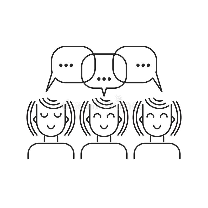 Girls chatting line icon stock illustration