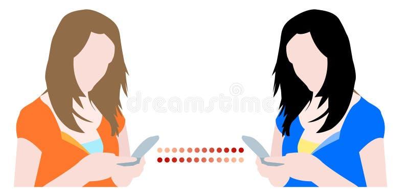 Download Girls Chatting On Mobile Phones Stock Vector - Illustration: 7924613