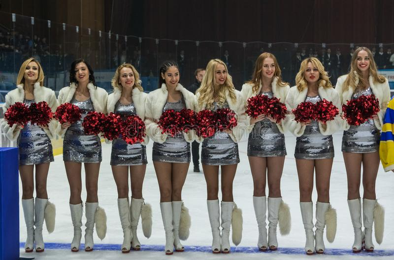 Girls cheerleaders from the team Red Foxes for the match Ukraine vs Romania royalty free stock photos