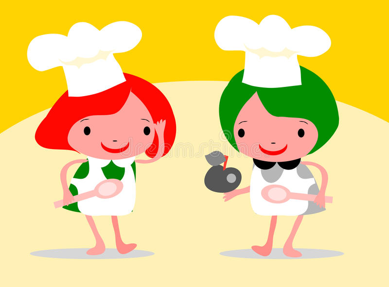 Download Girls Chef In An Apron And Chefs Stock Illustration - Illustration of chef, design: 14798614