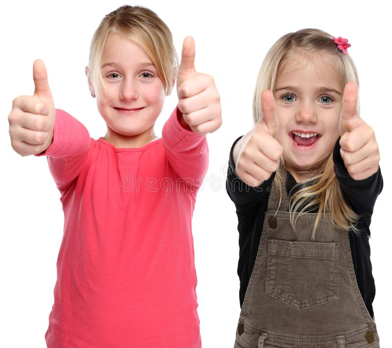 Girls children kids smiling young success thumbs up isolated on. A white background royalty free stock image