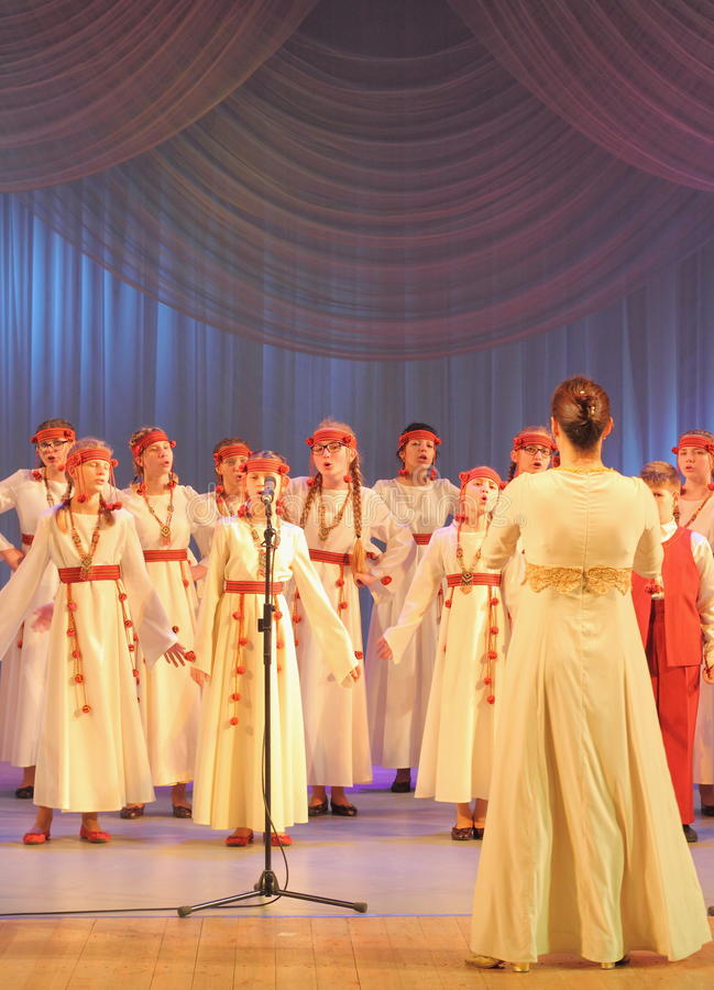 Girls choir. Art collective chorus of Swallow on the stage of the Kyiv Palace of children and youth. Festival Pure dew royalty free stock photography