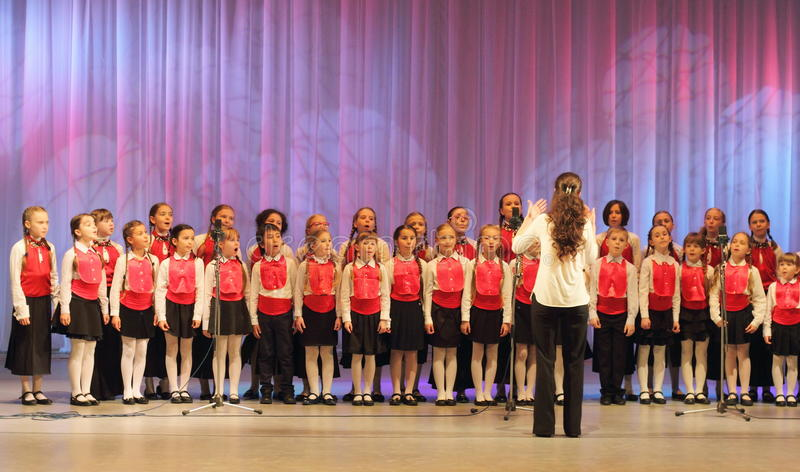 Girls choir. Chorus girls Vognik on the stage of the Kyiv Palace of children and youth. Festival Levels of Excellence royalty free stock photos