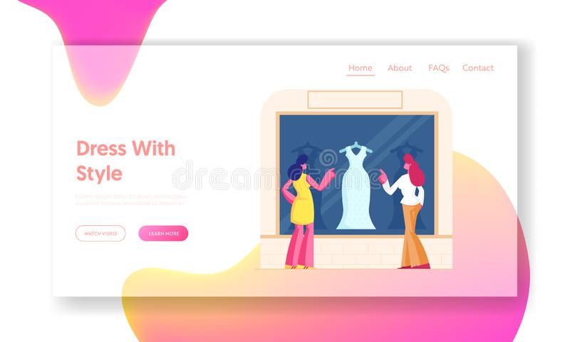 Girls Choose Garment Standing at at Apparel Boutique Website Landing Page Young Stylishe Women Stand bei Showcase stock abbildung