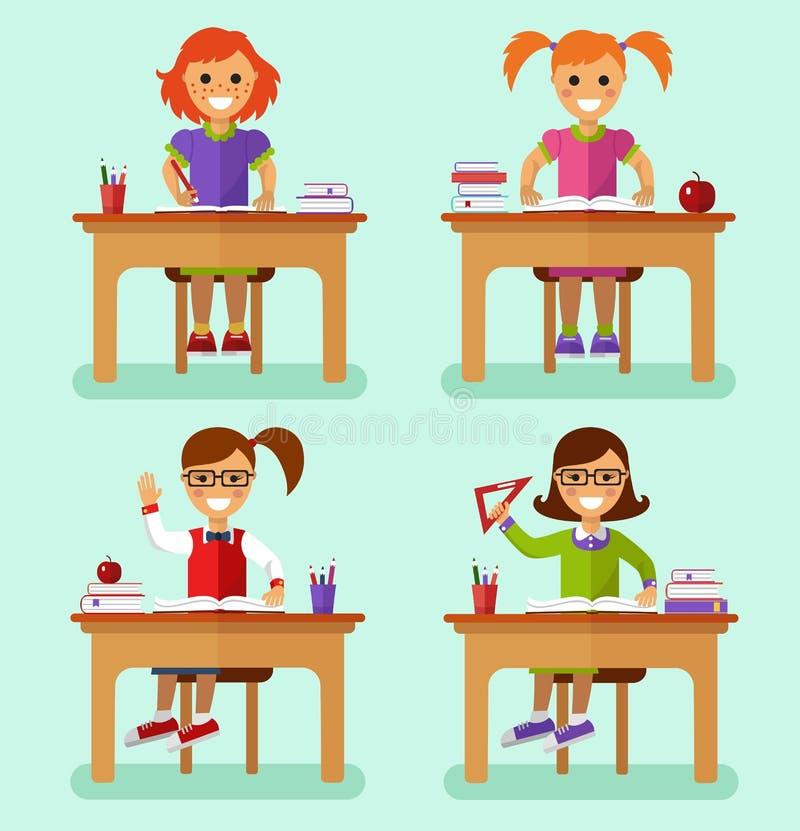 Girls in classroom royalty free illustration