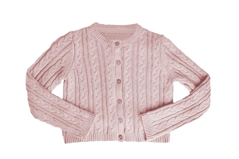 Girls clothes. Festive beautiful pink little girl sweater or knitted cardigan isolated on a white background. Children and kids stock photography