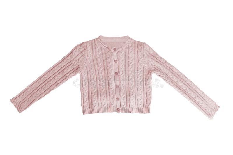 Girls clothes. Festive beautiful pink little girl sweater or knitted cardigan isolated on a white background. Children and kids royalty free stock images