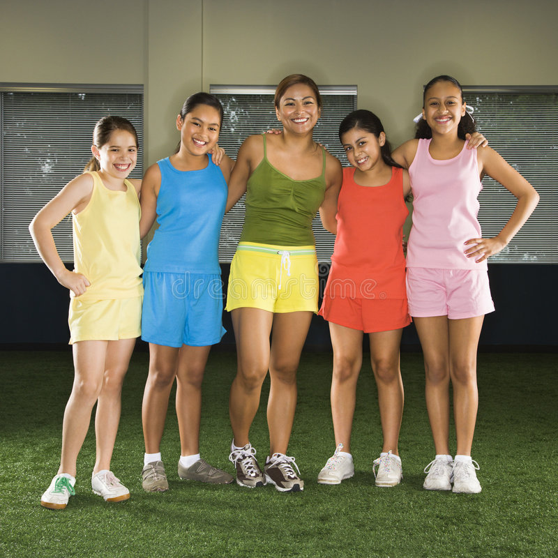 Download Girls and coach. stock image. Image of colour, field, american - 3421713