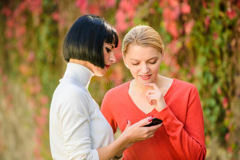 Girls communicating looking at phone. Social networks concept. Sharing link. Buy online. Modern technology. Surfing royalty free stock photography