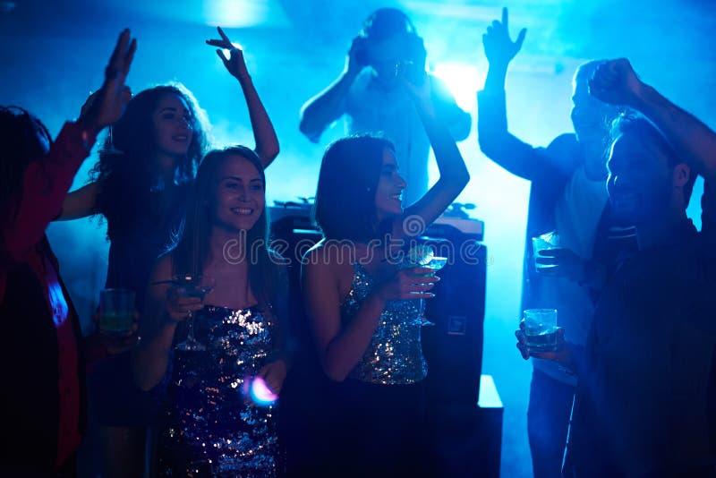 Girls dancing all night stock photos