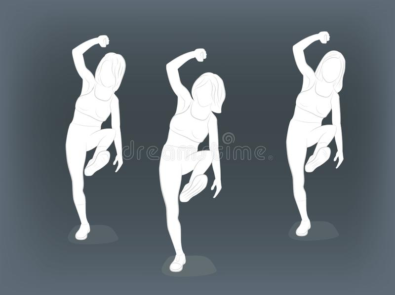 Girls are dancing. vector illustration. royalty free stock photos