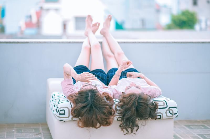 Girls On Day Bed Outdoors Free Public Domain Cc0 Image