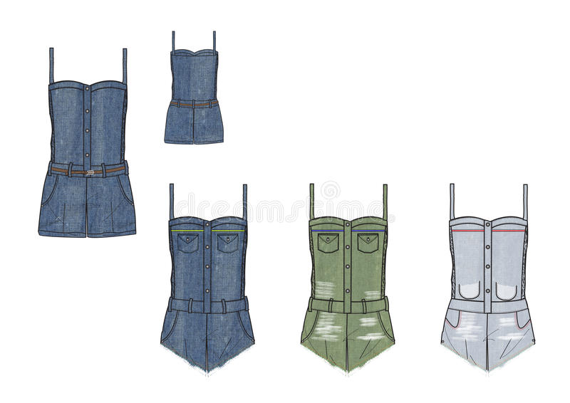 Girls Denim Playsuit design template vector illustration