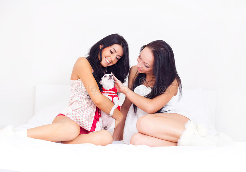Girls With A Dog Royalty Free Stock Images
