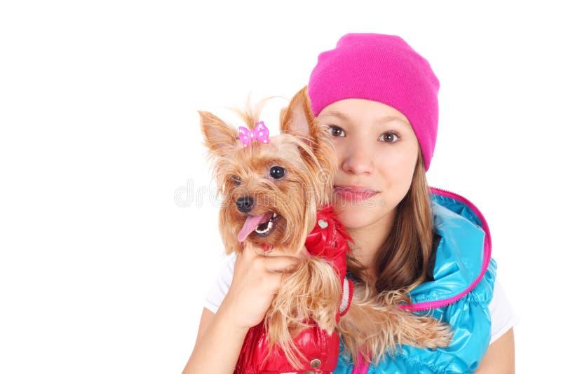 Girls and dog stock photo