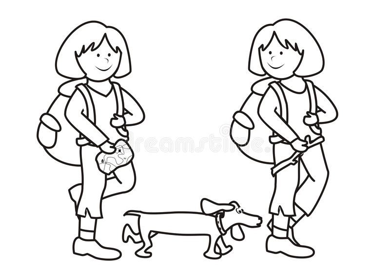 Girls And Dog - Coloring Book Stock Vector - Illustration of outing ...