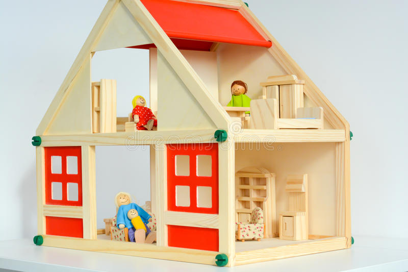 Girls dollhouse isolated on white background stock photos