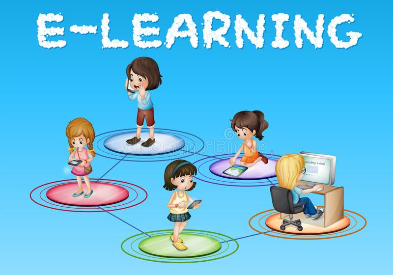 Girls and e-learning icon vector illustration