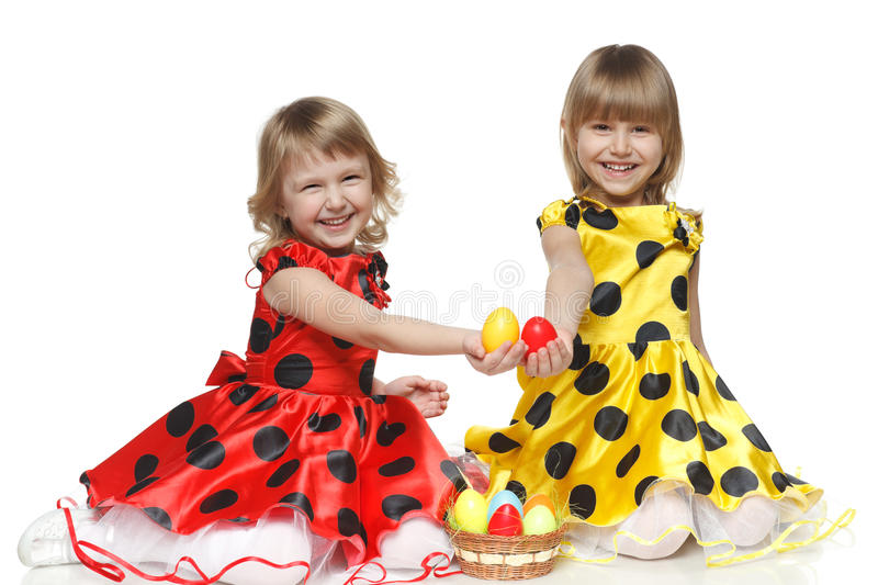 Download Girls With Easter Basket Sitting On The Floor Stock Image - Image: 24518557