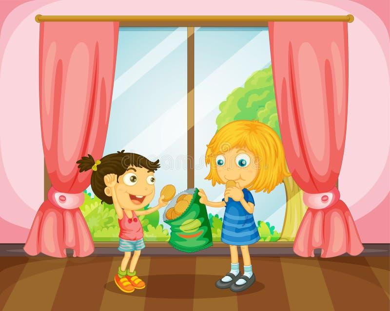 Girls eating cookies in room. Illustration of girls eating cookies in a room royalty free illustration