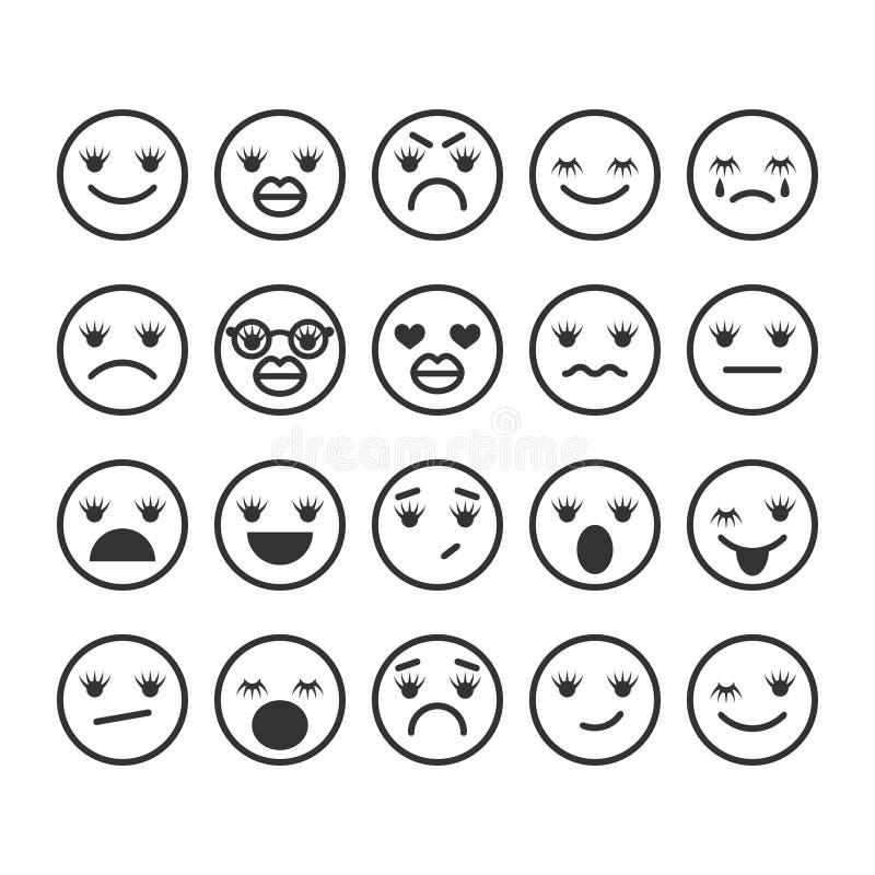 Girls emoji, emoticons with eyelashes and inflated lips. Emotional icons or symbols for communication, mood indicator. royalty free illustration