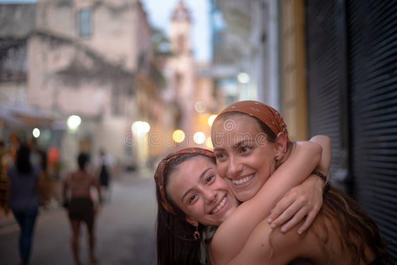 Girls enjoying vacation in Havana, Cuba royalty free stock images