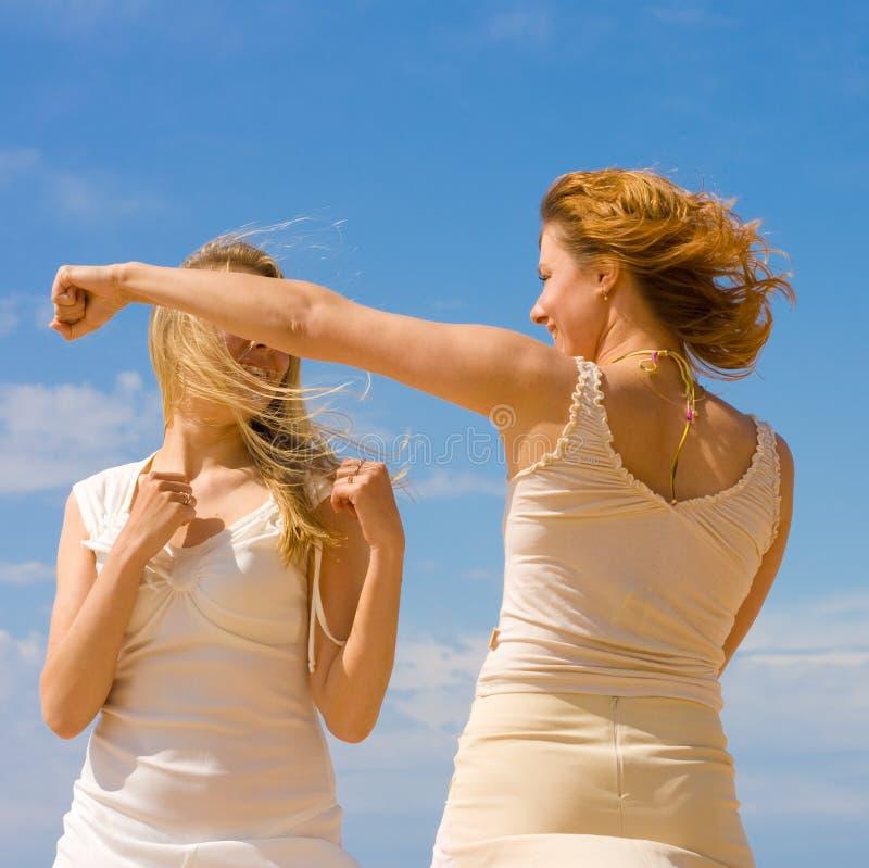 Girls exercising royalty free stock photography