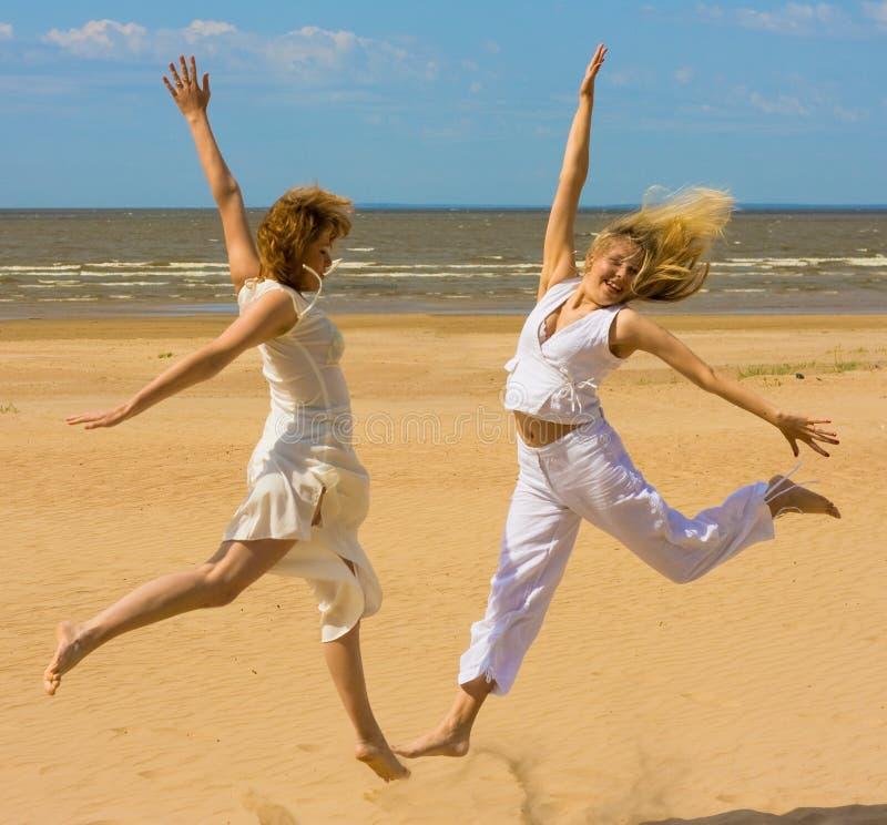 Girls exercising royalty free stock photo