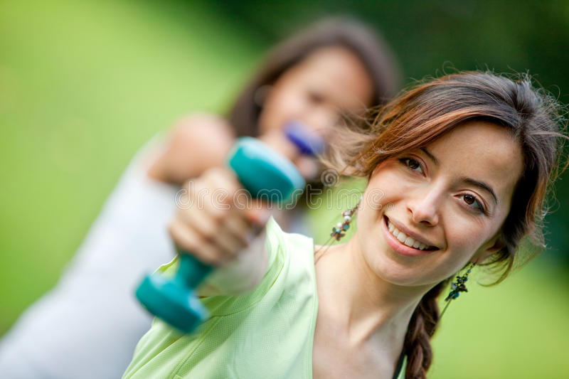 Download Girls exercising outdoors stock photo. Image of cute - 16137556