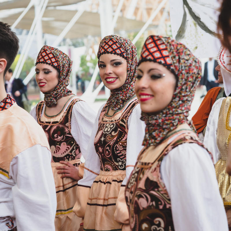 GIrls at Expo 2015 in Milan, Italy stock photo