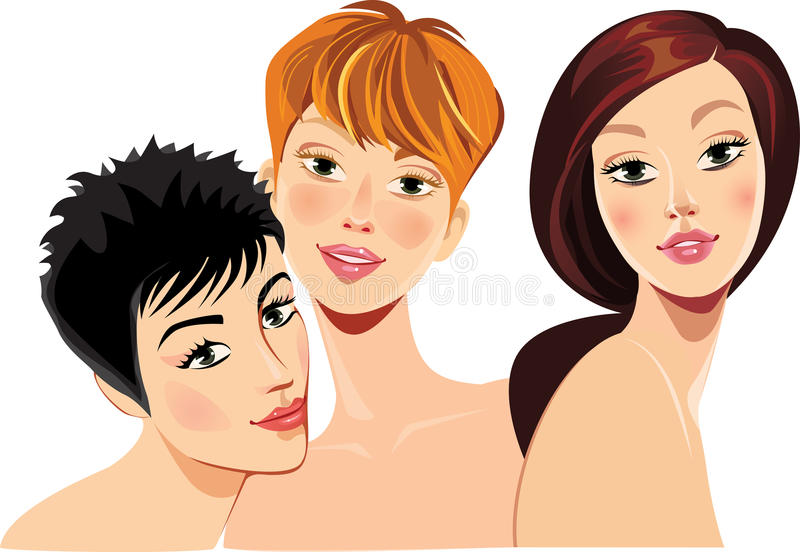 Girls face, woman face, portrait fashion beautiful women. Vector illustration of girls face, woman face, portrait fashion beautiful women stock illustration