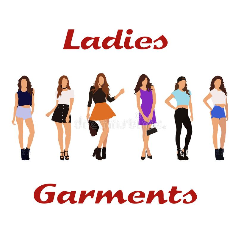 Girls fashion ladies garments. Women`s clothing. Girls posing in dresses, skirts, shorts and T-shirts, with or without women`s bags royalty free illustration