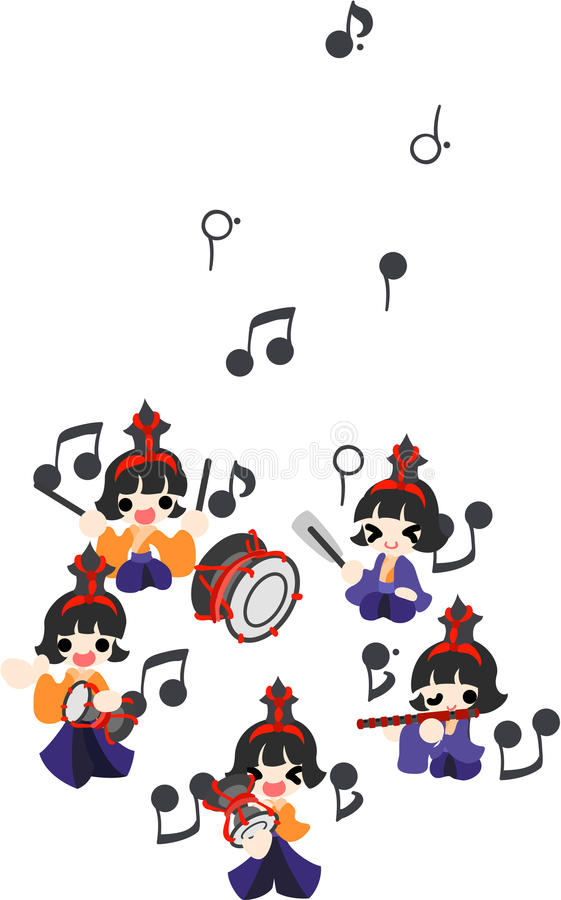 Girls Festival in Japan -Five musicians- royalty free illustration
