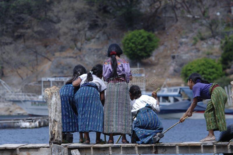 Girls Fishing stock image