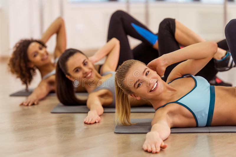 Girls in fitness class royalty free stock photos