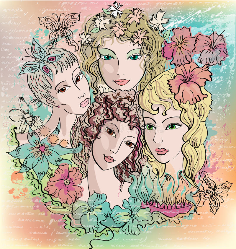 Girls and flowers royalty free illustration