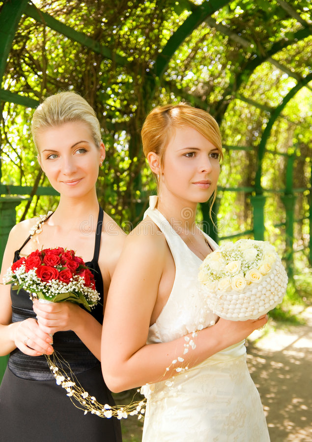 Girls with a flowers royalty free stock photo