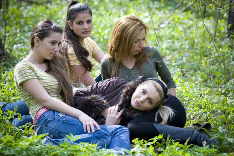 Girls in the forest royalty free stock photo