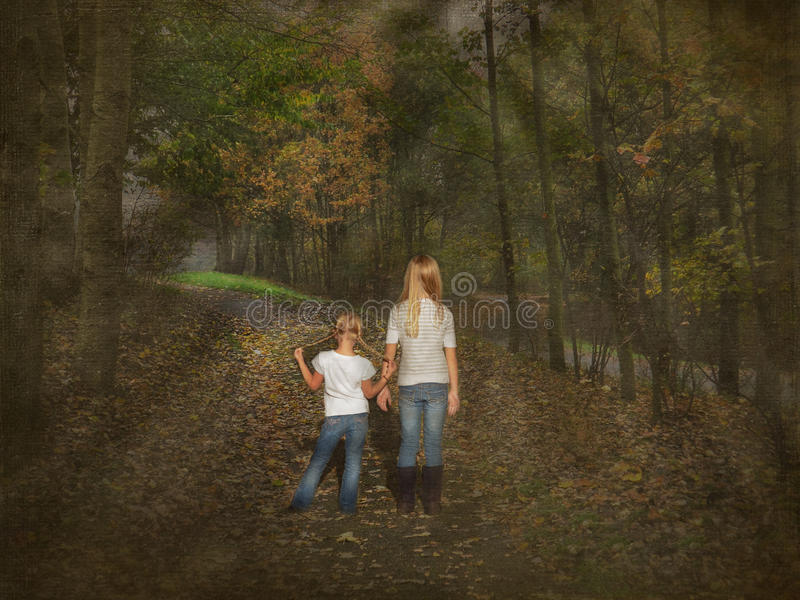 Download Girls on forest footpath stock illustration. Illustration of youth - 22153608