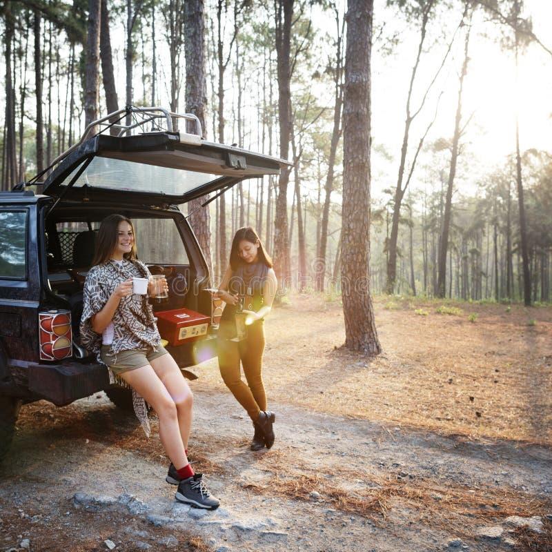 Girls Friends Exploring Outdoors Nature stock photo