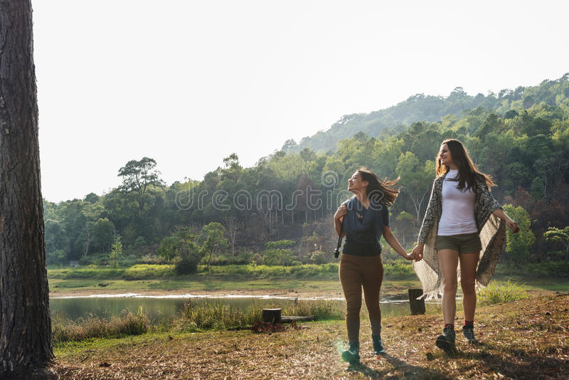 Girls Friends Exploring Outdoors Nature Concept royalty free stock photo