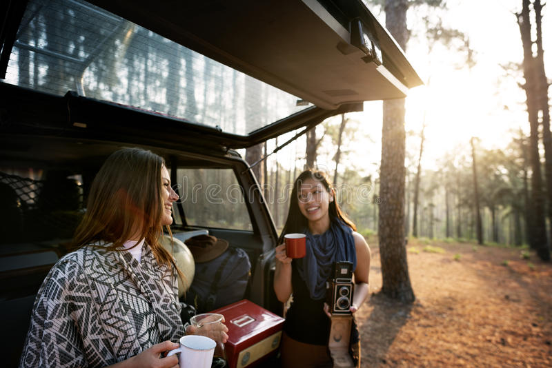 Girls Friends Exploring Outdoors Nature Concept stock photography
